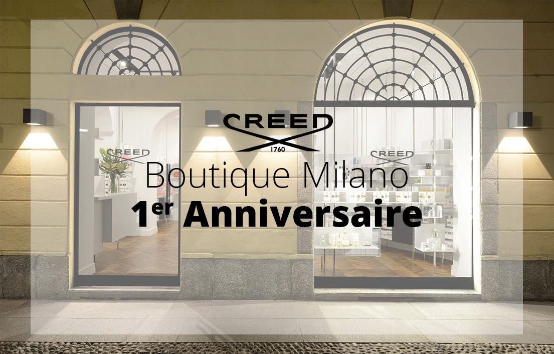 Milano festeggia il primo anniversario di Boutique Creed. Tanti Auguri!!